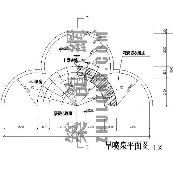 半圆形旱喷泉施工详图