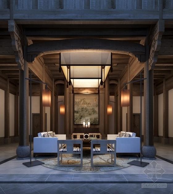 [江苏]徽派建筑风格高端文化会所设计方案小会见厅效果图