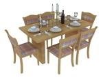 现代木餐桌3D模型下载