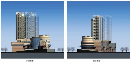 [河北]流线型多层特色商业综合体规划及建筑设计方案文本-流线型多层特色商业综合体立面图