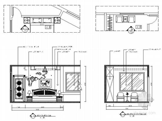 现代时尚三室两厅设计装修图主卧立面图