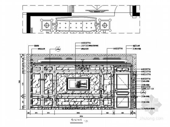 [深圳]195平经典豪华欧式五居室样板间装修设计施工图客厅立面图