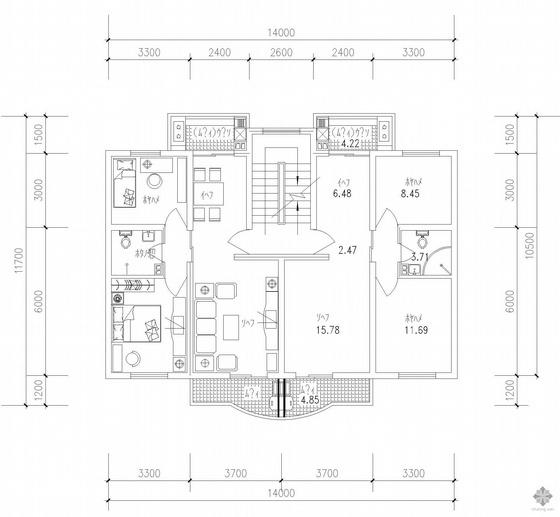 板式多层一梯两户户型图(76/76)