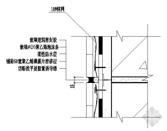 外墙边梁与墙体交接处密封式分格缝构造(DBJ15-19-97)