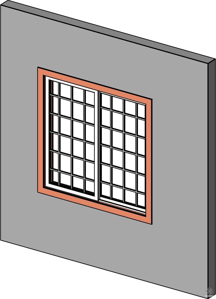 型材推拉窗(有装饰格)