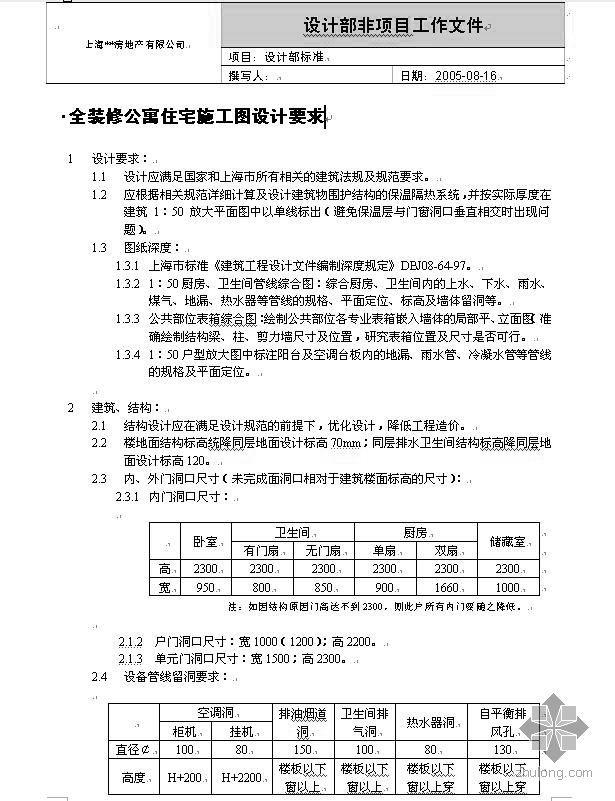 [上海]知名房地产公司全装修公寓施工图设计要求