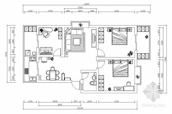 简约现代两居室室内装修图(含效果图)