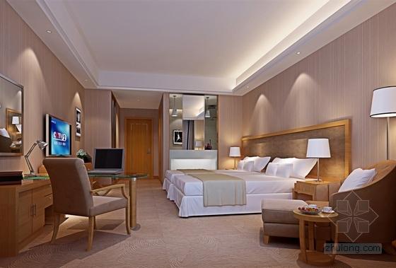 [苏州]工业园区现代商务酒店客房部分室内施工图(含效果图) 效果图