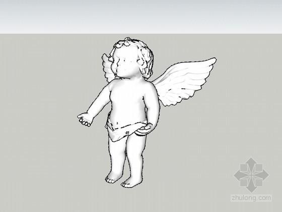 天使雕塑SketchUp模型下载
