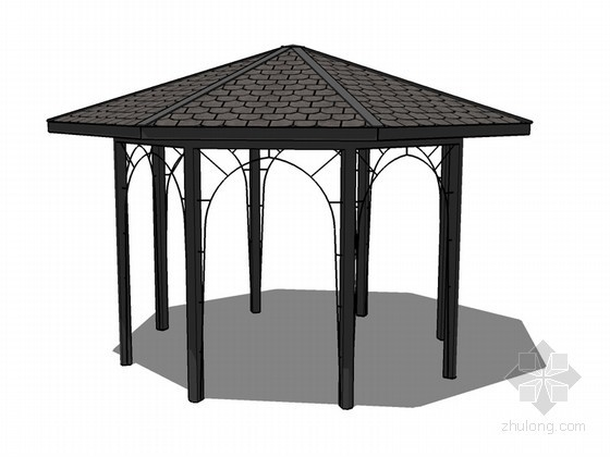 景观亭子SketchUp模型下载