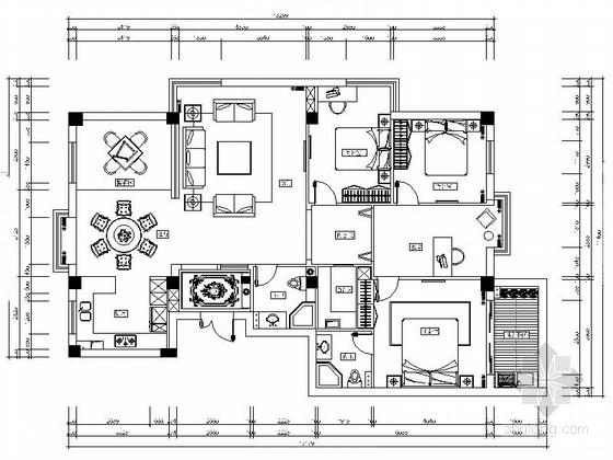 [大连]时尚四居室两厅样板房装修CAD施工图(含效果)