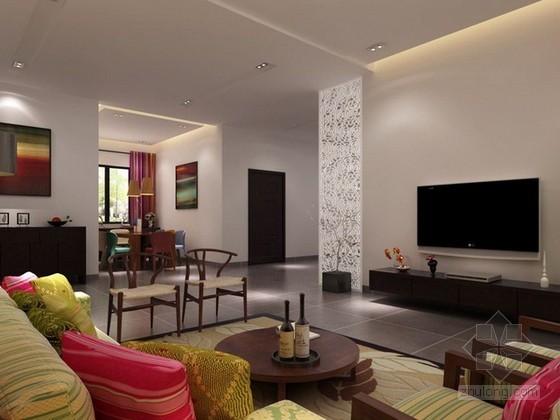 现代中式家装3d模型下载
