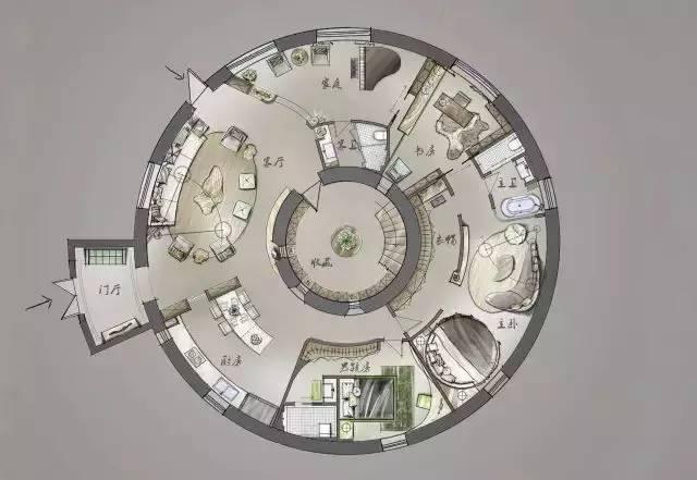 深度解析!一个圆形户型的15个高超方案!_5
