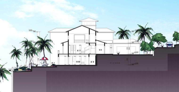 [广东]滨海大型地知名地产风格独栋别墅设计方案文本-滨海大型地知名地产风格独栋别墅剖面图