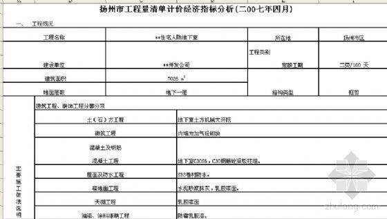 扬州某住宅人防地下室清单计价经济指标分析(2007年4月)