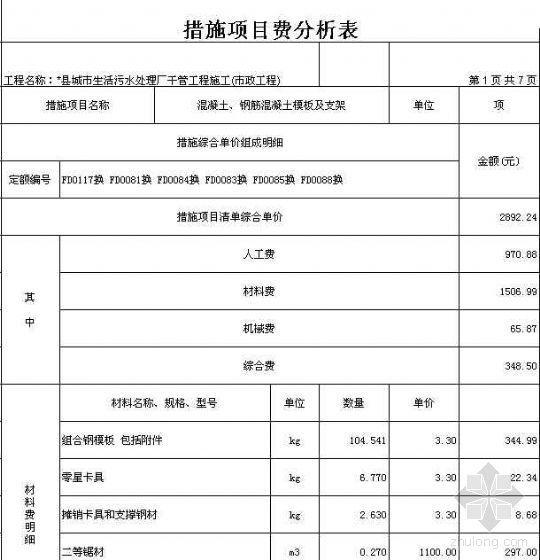 某生活污水处理厂干管工程投标报价(市政工程)