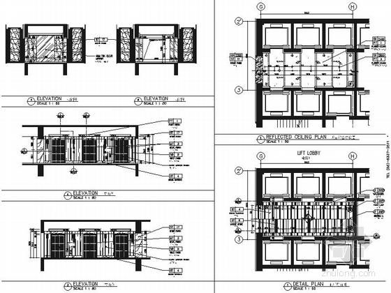 [浙江]全球国际化金融中心高档现代风格综合性酒店装修施工图(含效果)电梯厅立面图