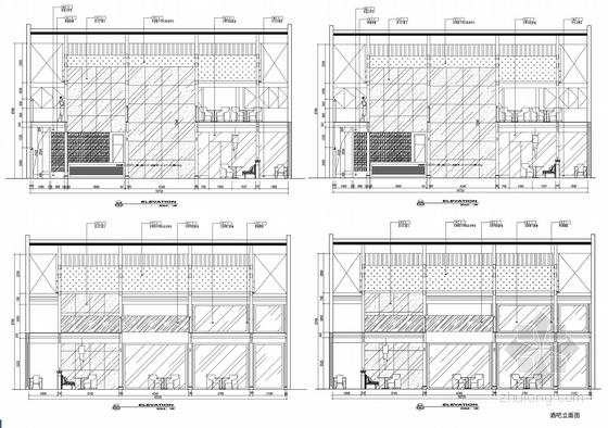 [浙江]水乡古镇国家旅游景区中式风格酒店设计方案图酒吧立面图