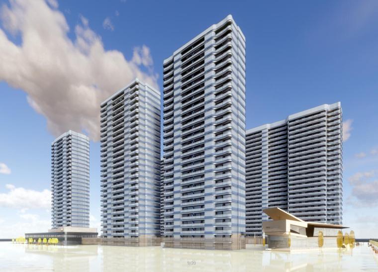 [浙江]杭州融信蓝孔雀现代高层建筑模型设计(2018年)