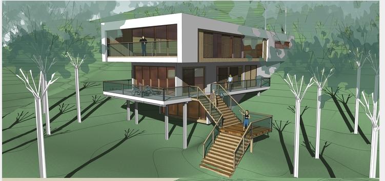 现代风格山地独栋别墅设计方案SU模型