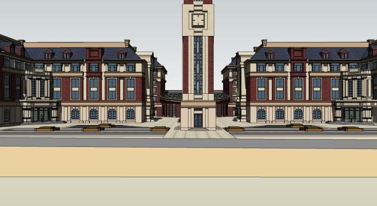 欧式风格中学教学楼建筑模型