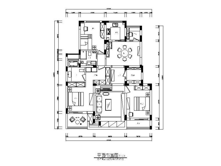 一套中式风格样板间CAD设计施工图(含效果图)