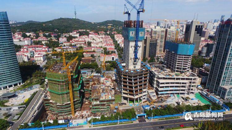 青岛新地标海天中心主塔楼已建20层,明年底主体封顶