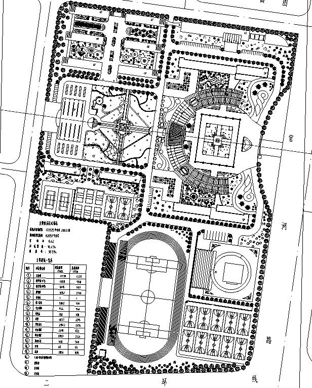 [合集]校园绿地景观规划设计CAD平面图41套-外国语校园景观设计平面图