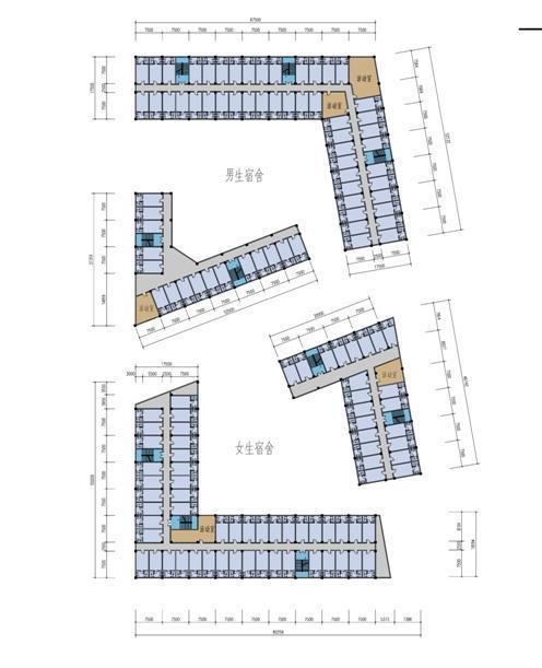 现代化多组合布局绿色空间校园建筑