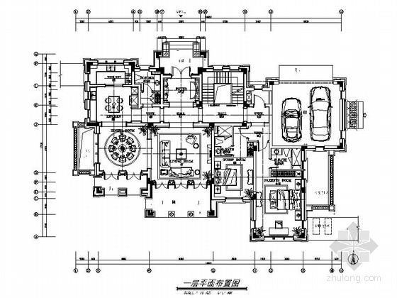 精品中式韵味三层别墅样板房室内设计装修施工图