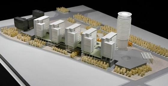 [广东]长廊并排式商业中心建筑设计方案文本-长廊并排式商业中心建筑设计模型图