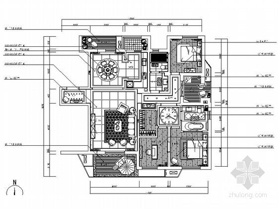 高端复古新古典主义设计风格三居室家装施工图