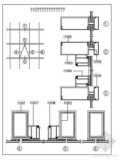 110系列半隐框玻璃幕墙结构详图