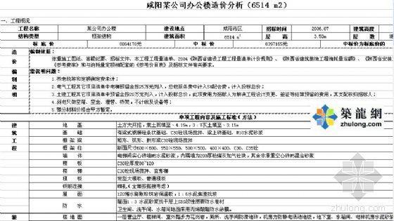 咸阳某公司办公楼造价分析(6514 m2)