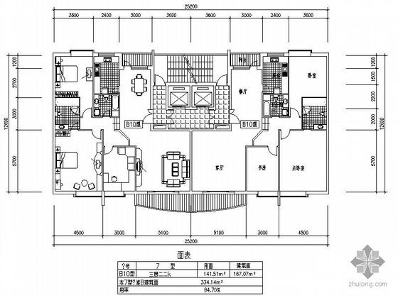 板式高层一梯三户四室两厅方案图(167/167)