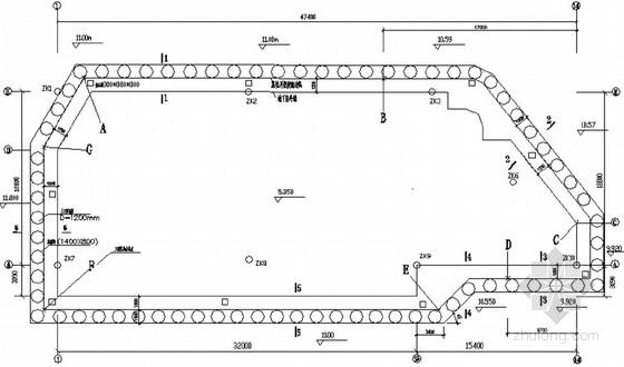 [广东]某学生公寓基坑排桩支护及监测平面设计图
