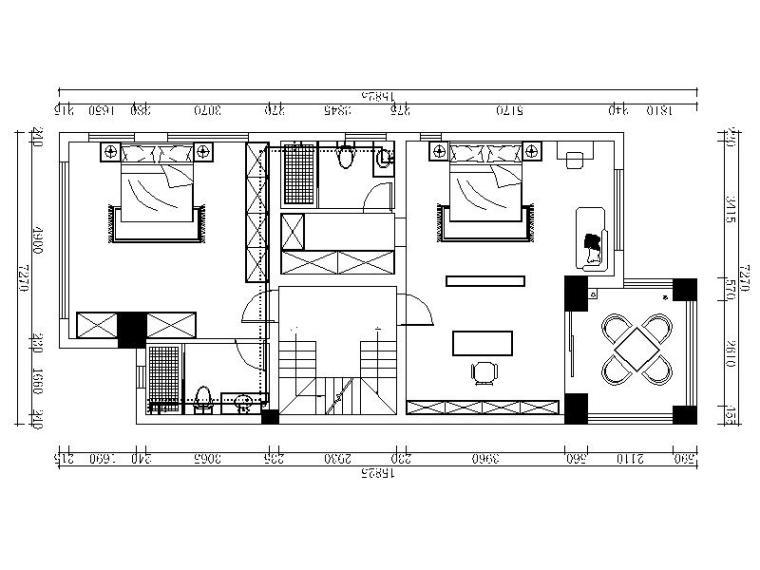 [扬州]美式乡村温馨田园3层别墅室内设计施工图(含效果图)