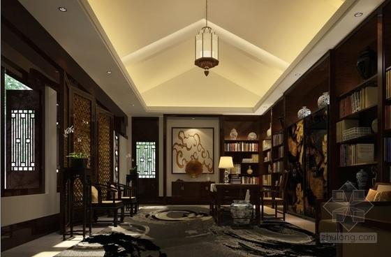 现代中式会所书吧室内装修效果图