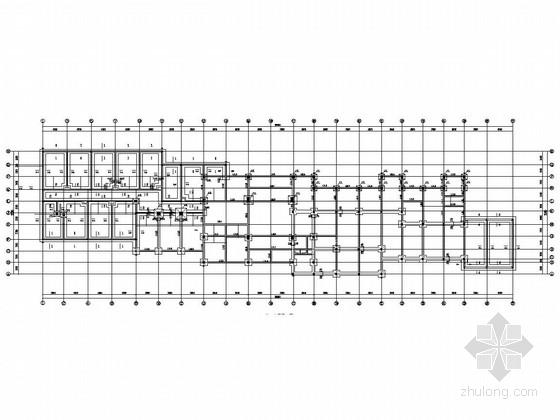 五层砖混结合框架结构商务中心旅馆结构图(含建筑)
