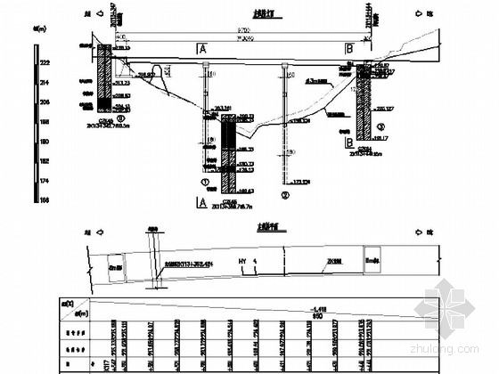 [湖北]3×30m预应力混凝土连续T梁刚构桥设计图纸28张(双柱墩配桩基础)