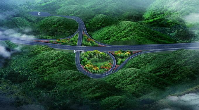 低山丘陵区13km双向四车道高速公路工程实施性施工组织设计213页(路桥隧涵)-互通建设效果