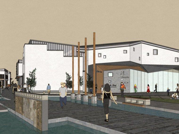 中式风格新古典商业街2层商业街su模型设计