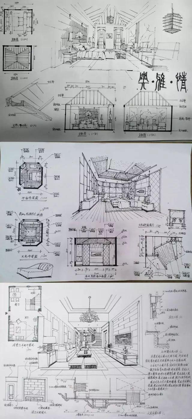 室内手绘 室内设计手绘马克笔上色快题分析图解_50
