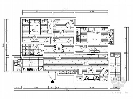 简单时尚现代两居室装修图(含效果图)
