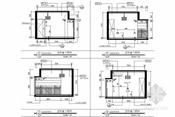 西南区繁华经济中心花园小区现代风格两居室装修图 主卧室立面图