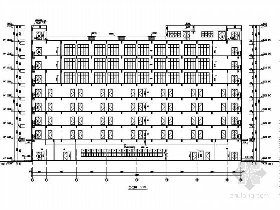 [湖北]八层框架结构涂料外墙办公楼建筑施工图-八层框架结构涂料外墙办公楼建筑剖面图