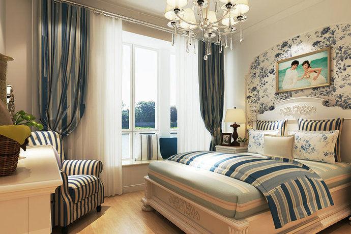 地中海风格清新典雅大户型卧室装修效果图