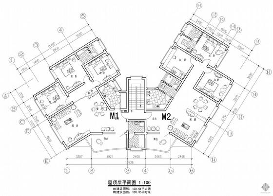 塔式多层一梯两户户型图(130/139)