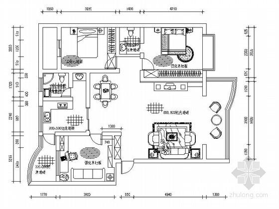 现代三室二厅室内装修图