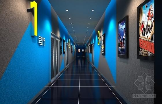 [天津]繁华商务中心室内娱乐现代影视城设计装修施工图(含效果)效果图